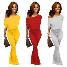 Pure color bat sleeve two-piece set