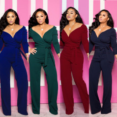 Strap-on deep V-sleeve Jumpsuits