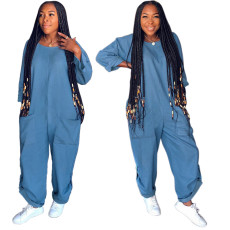 Fashionable and loose jeans Jumpsuits