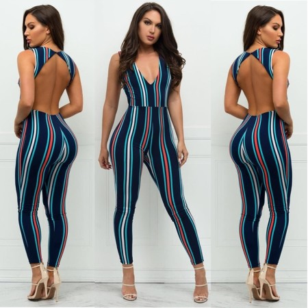 Deep V-neck, bare back, tight striped Jumpsuits