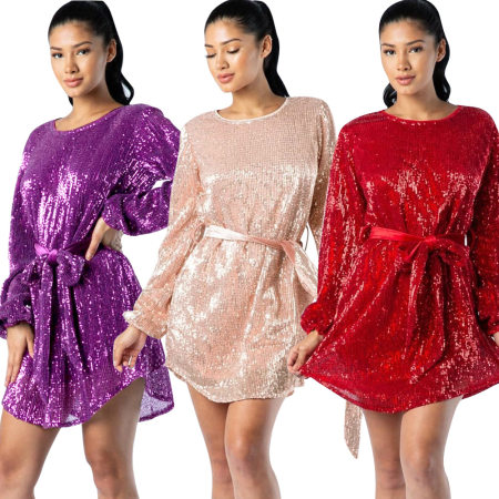 Sequined long-sleeved casual dress