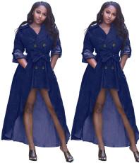 Pure suit collar irregular dress
