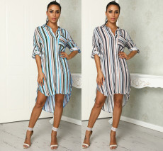 Long sleeve loose shirt dress