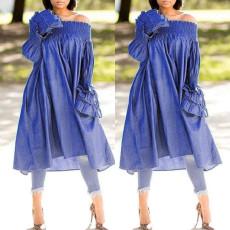 Loose-necked denim side pocket long-sleeved dress
