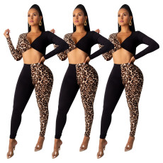 Leopard print two-color stitching two-piece suit