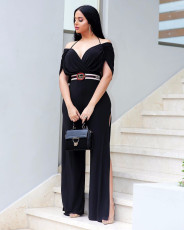 Fashionable sexy suspender shawl pure color jumpsuits