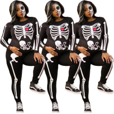 Skull Printed Jumpsuits for Halloween Festival