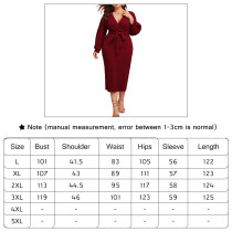 V-neck long-sleeve dress with waistband