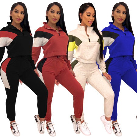Fashion stitching collar leisure sports suit