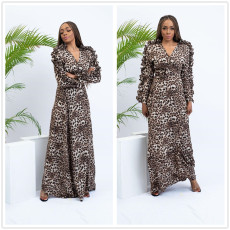 Temperament Leopard-print Lotus Leaf Side Sleeve Dress