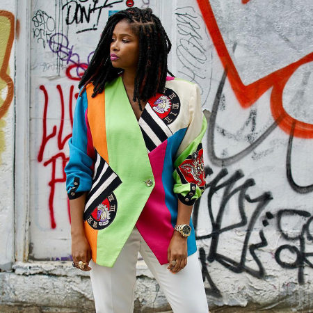 Fashion colour collision stitching multi-colour suit jacket