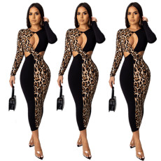 Long-sleeved leopard-print hollow-out spliced dress