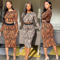 Two-piece suit of striped long-sleeved dress