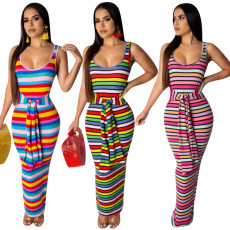 Coloured stripe pit print dress