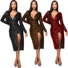Side zip Sequin dress