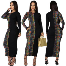 Colorful multicolor snake pattern patchwork dress