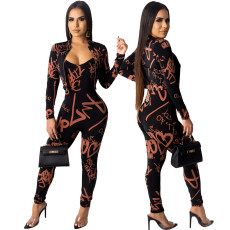 Two piece set of letter printed coat + suspender Jumpsuit