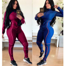 Fashion casual sports zipper two piece suit