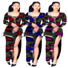Casual printed tricolor dress