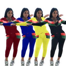 Stripe panel sports fashion long sleeve two piece set