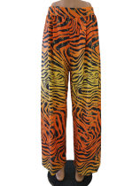 Printed yellow leopard pattern wide leg casual pants