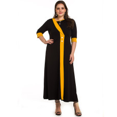 Patchwork round neck button long dress