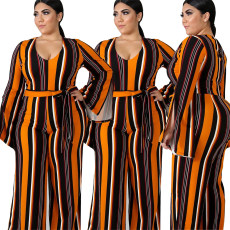 Open Sleeve Striped printed large Jumpsuit with waistband