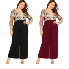 Lace V-neck wide leg Jumpsuit