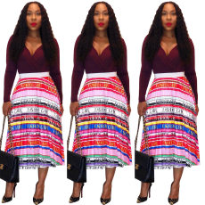 Lip letter Stripe Print pleated skirt half skirt