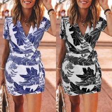 Short sleeve leaf print  One piece dress