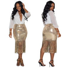 Braised flower slit fringe skirt