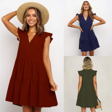 V-neck solid loose Pleated Dress