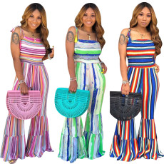 Pleated Rainbow Stripe contrast one-piece flared pants
