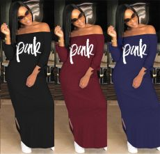 Letter off shoulder dress