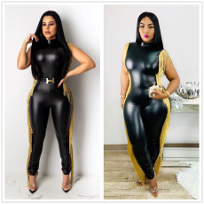 Fashionable PU leather Jumpsuit