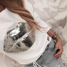 Lip Sequin long sleeve T-shirt