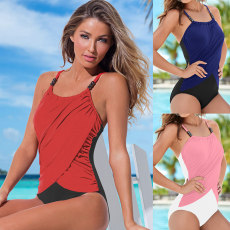 Triangle one piece swimsuit with beads and suspenders