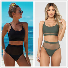 Hot spring perspective mesh splicing high waist split swimwear