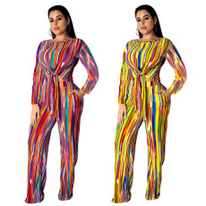 Rainbow Stripe Print  Bandage  Two piece suit