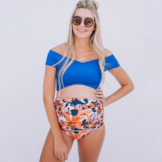 Printed maternity split swimsuit