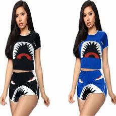 Fashion casual shark print sport two piece set