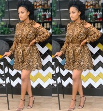 Casual leopard print off shoulder dress