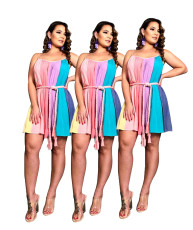 Colorful striped suspender waist tie dress