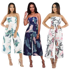 Wide leg Jumpsuit with one neck print