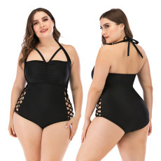 Hollow one piece swimsuit large cover cup