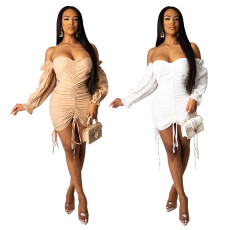 Fashion off shoulder back Mini Dress