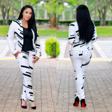 Black and white fashionable suit suit