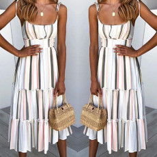 Fashion Stripe Print Halter Dress