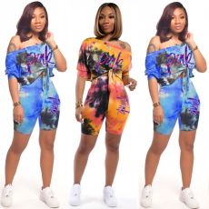 Tie dyed short sleeve shorts two piece set with letter print