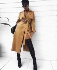 Lace up medium length coat dress
